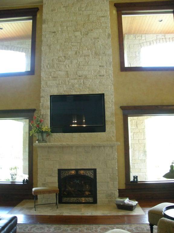 Athens Natural Stone Veneer Fireplace