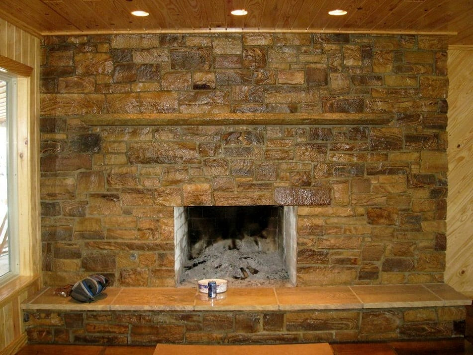 Brentwood Natural Stone Fireplace Veneer with High Gloss Sealer