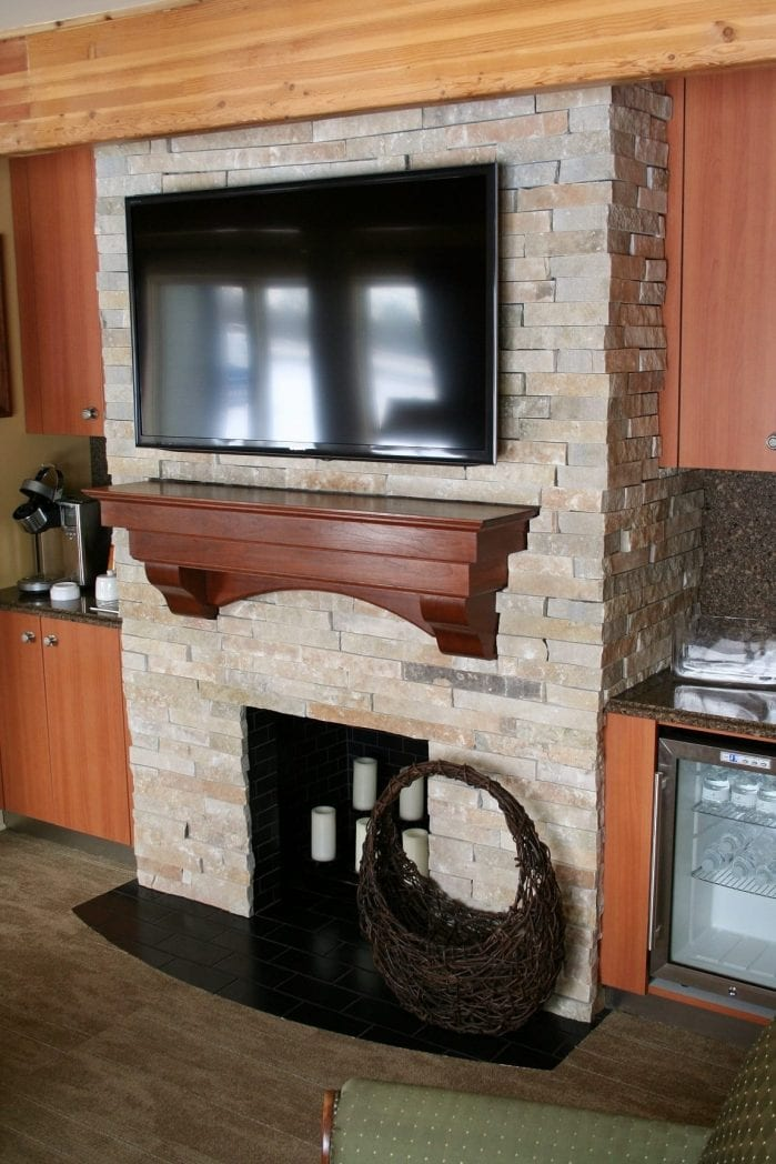 Custom Ledge Stone Interior Fireplace