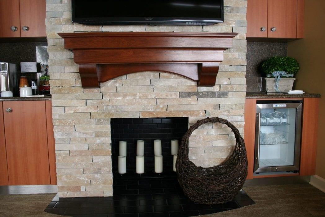 Custom Thin Stone Fireplace