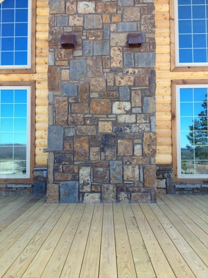 Denali Natural Stone Veneer Chimney