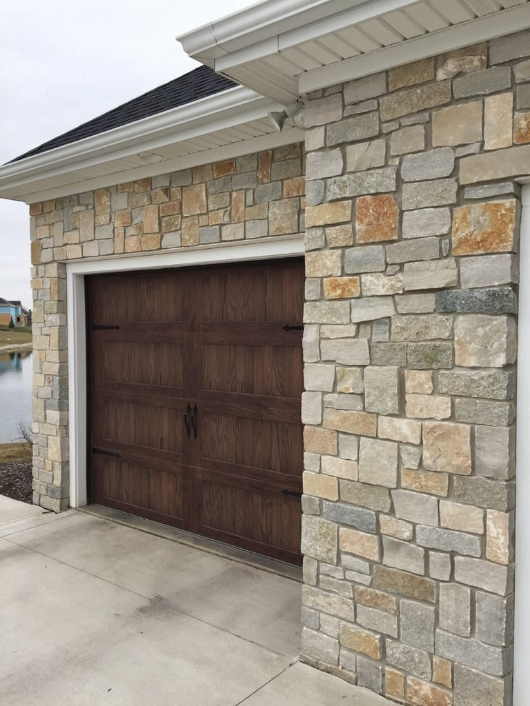 Custom Real Stone Veneer Garage