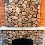 Granite Fieldstone Cobble Fireplace