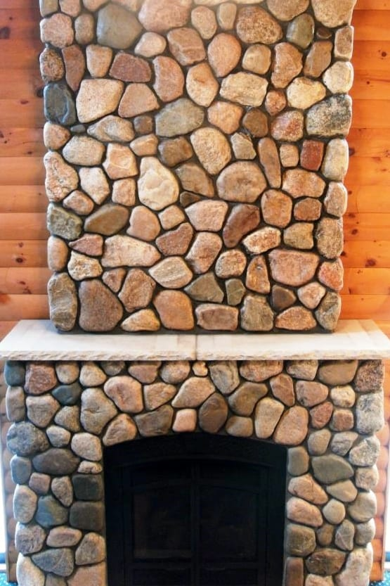 Granite Fieldstone Cobble Fireplace