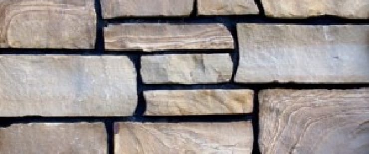 Thin Stone Veneer Close Up Black Mortar