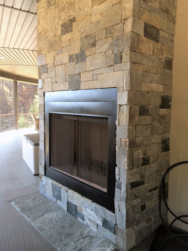 Hampton and Midford Blend Natural Stone Veneer Outdoor Fireplace