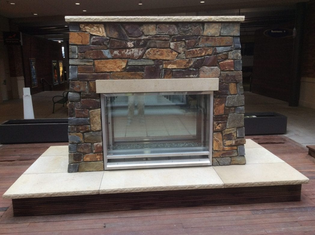 Montana Commercial Thin Stone Veneer Interior Fireplace
