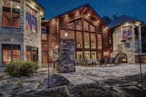 Cranberry Castle Custom Architectural Home with Natural Stone Twilight