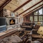 Natural Building Stone Interior Fireplace