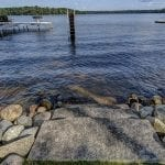 Natural Stone Steps into the lake