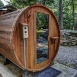 Outdoor Sauna with Natural Weathered Edge Limestone Outcropping Retaining Wall