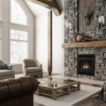 Custom Moonlight Natural Thin Stone Veneer Fireplace