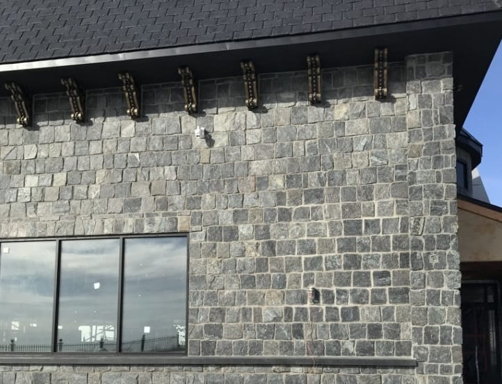 Custom Blackfriars natural stone veneer with all large rectangles