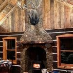 Moss Rock Real Stone Veneer Fireplace