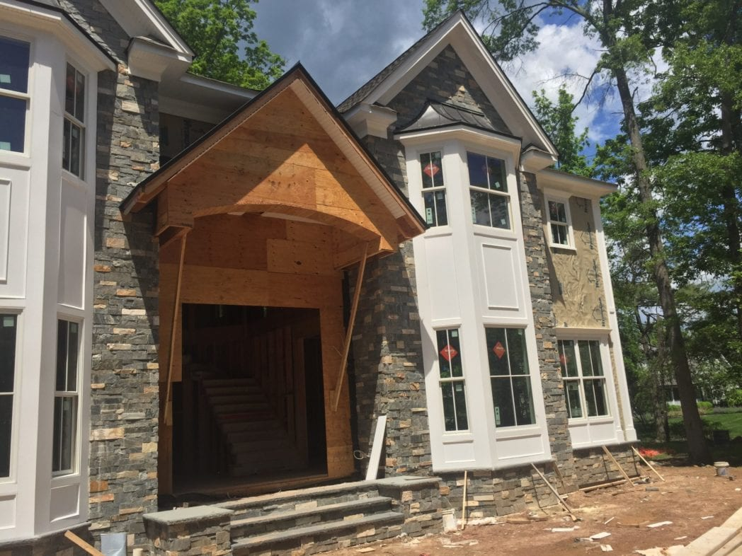 Custom Manhattan Real Stone Veneer Front Entrance