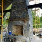 Custom Mosholu Fieldstone and Ephraim Blend Fireplace