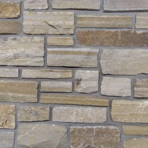 Swatch of tan ashlar real stone veneer