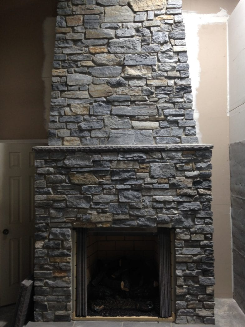 Mosholu Real Stone Veneer Fireplace