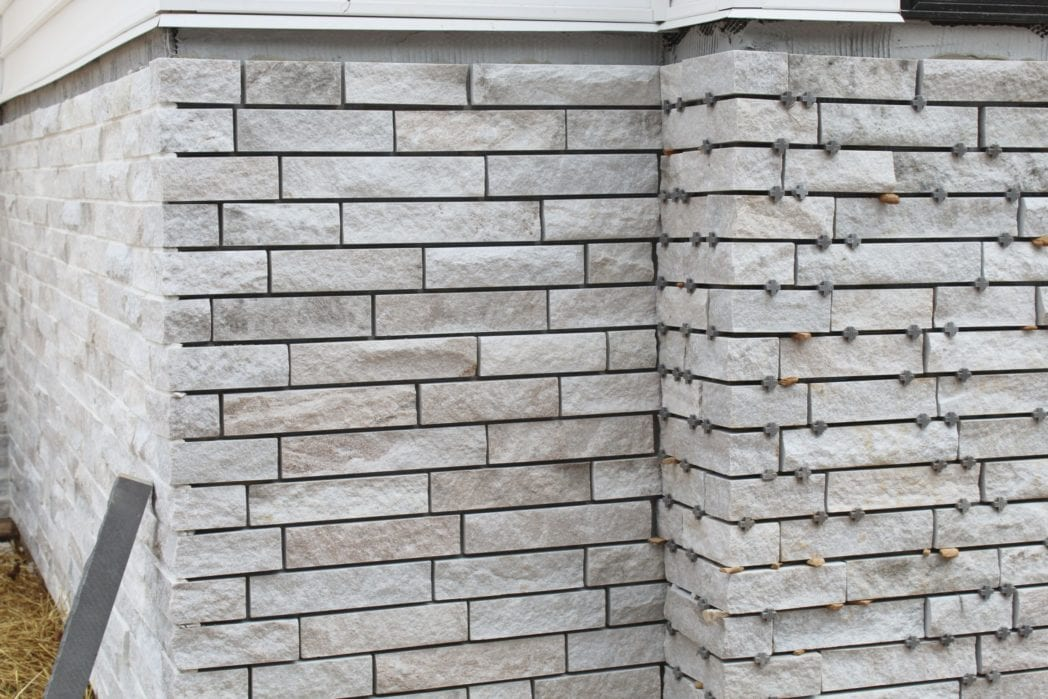 Whittier Natural Stone Veneer Awaiting Mortar