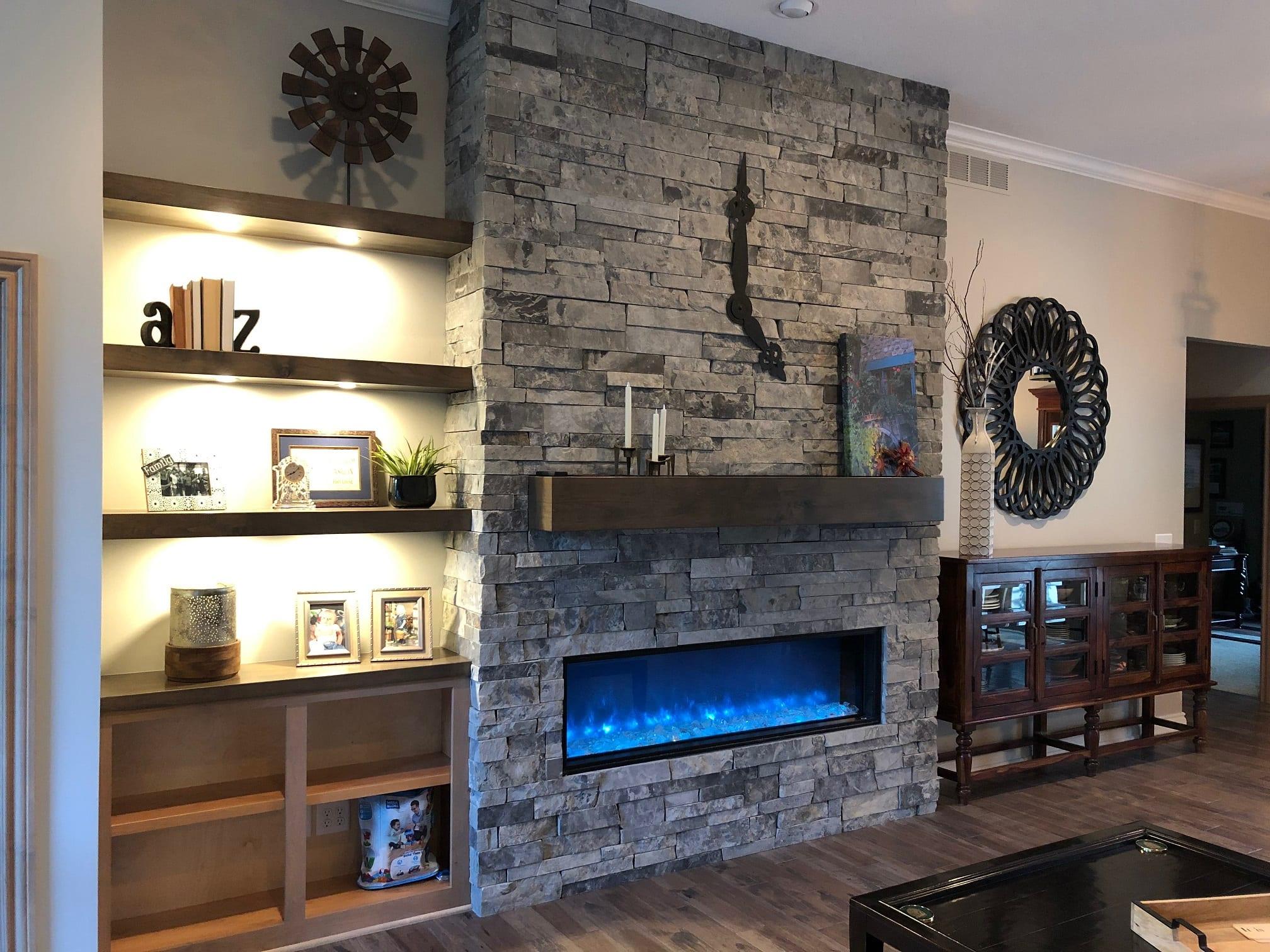 Corinthian Real Stone Veneer Interior Drystack Fireplace
