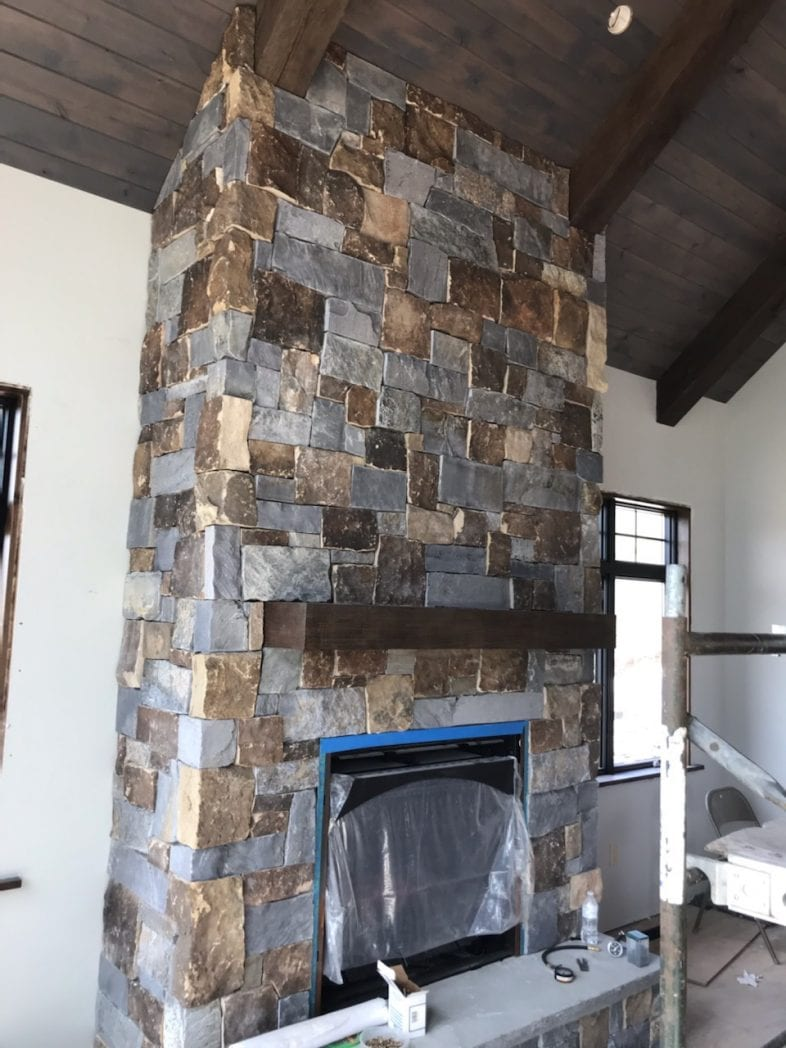 Custom Drystack Fireplace Blend of Glacier Ridge and English Tudor Real Stone Veneers