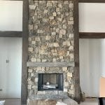 Custom Moss Rock Thin Stone Veneer Blend Fireplace
