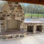 London Natural Thin Stone Veneer Exterior Fireplace