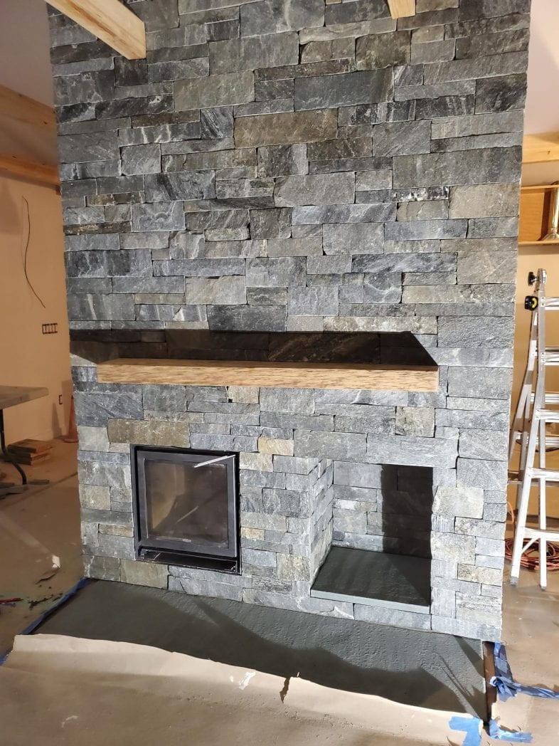 Manhattan Real Thin Stone Veneer Drystack Fireplace