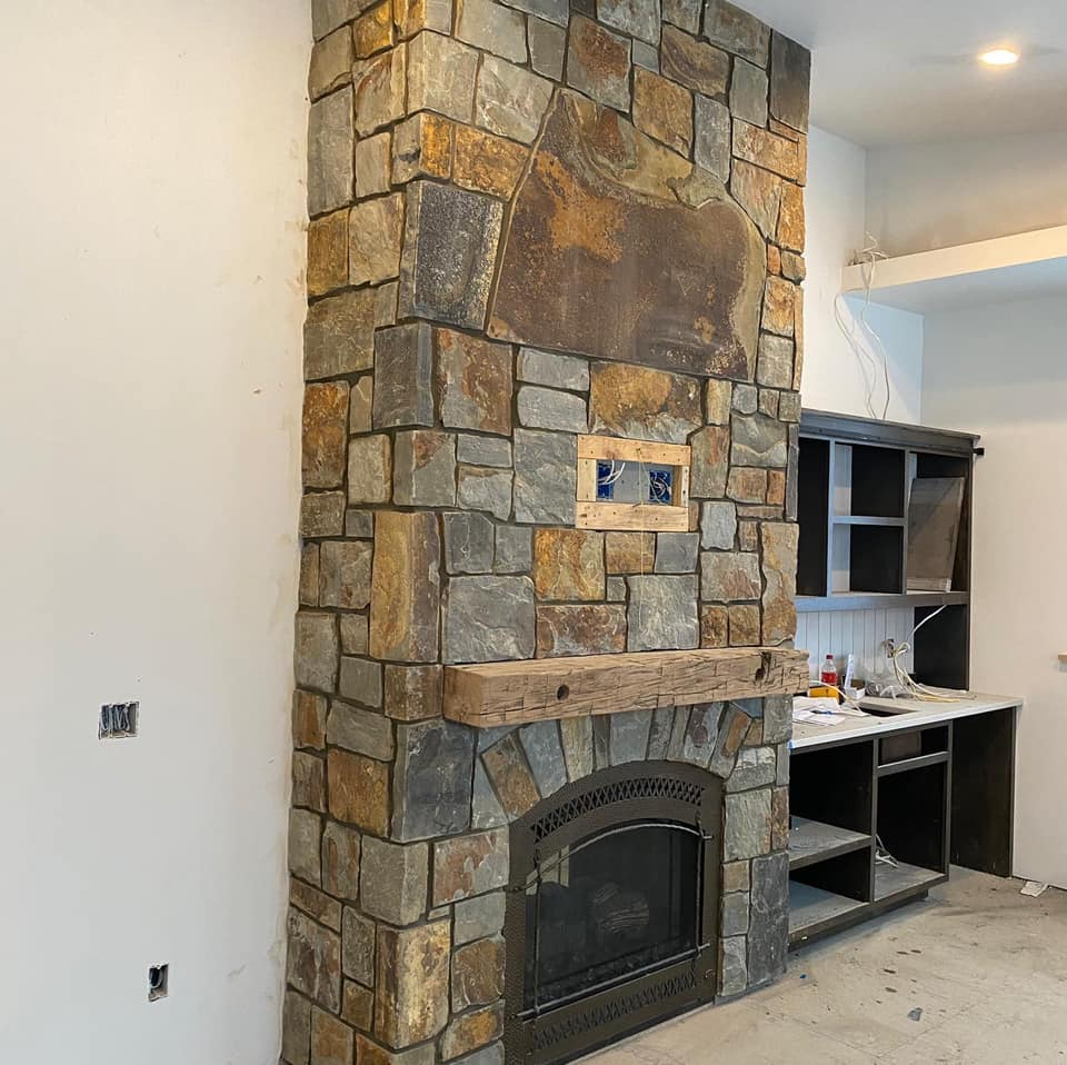 McGregor Natural Stone Veneer Interior Fireplace