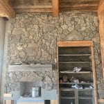 Moss Rock Natural Thin Stone Veneer Drystack Fireplace