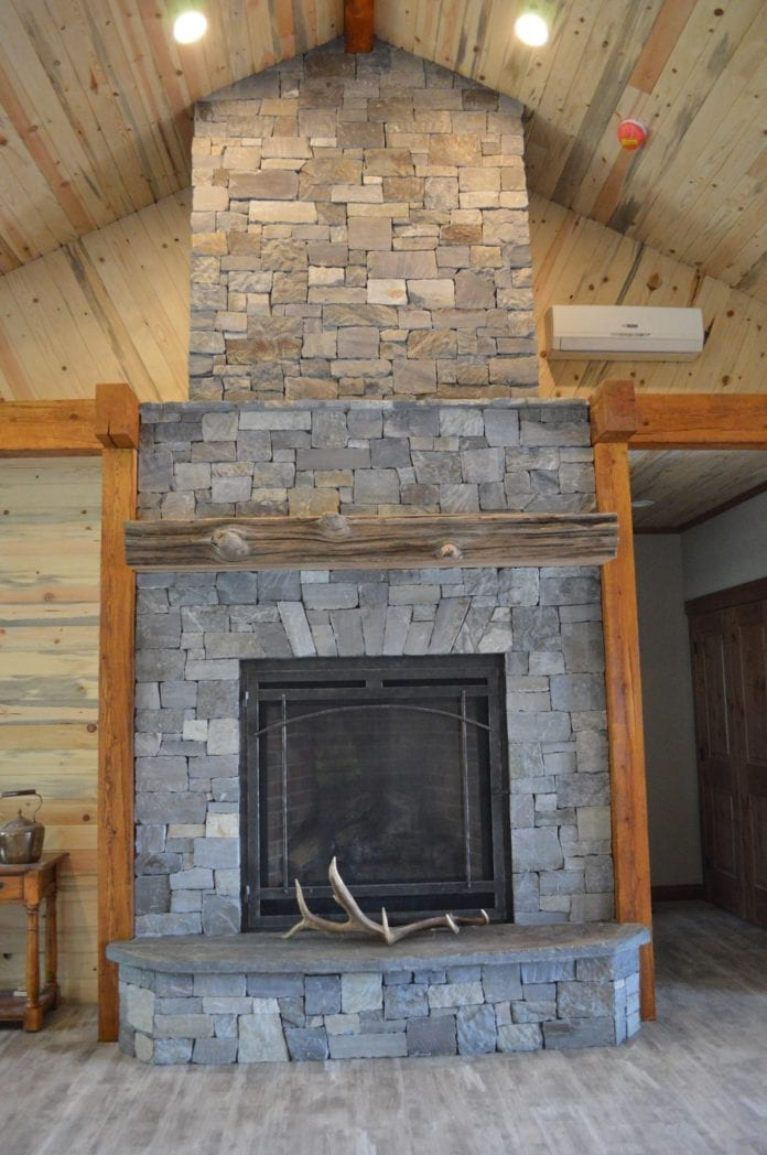 Custom Ashlar Real Stone Veneer Drystack Rustic Interior Fireplace