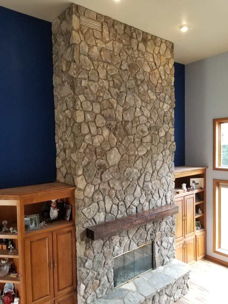 Moss Rock Real Thin Stone Veneer Interior Fireplace