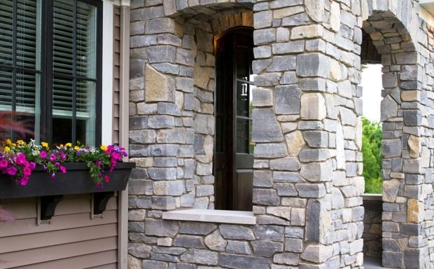 Cottage Grove Real Thin Stone Veneer Entrance