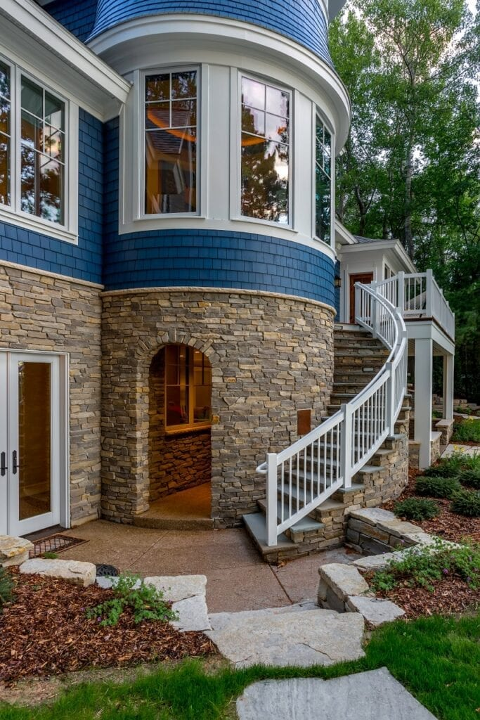 Glendale Natural Stone Veneer Turret and Stairs