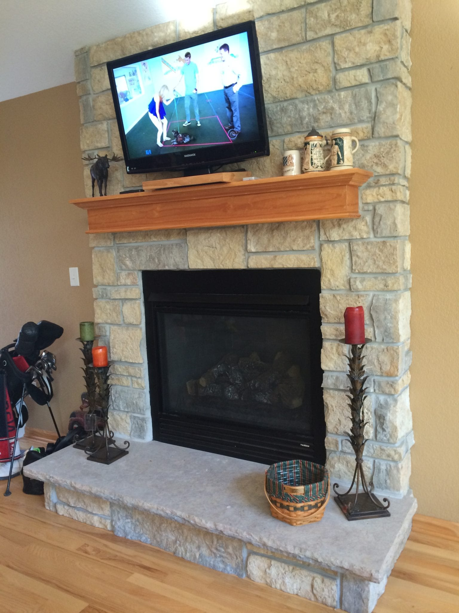 Jacksonport Real Thin Stone Veneer Interior Fireplace