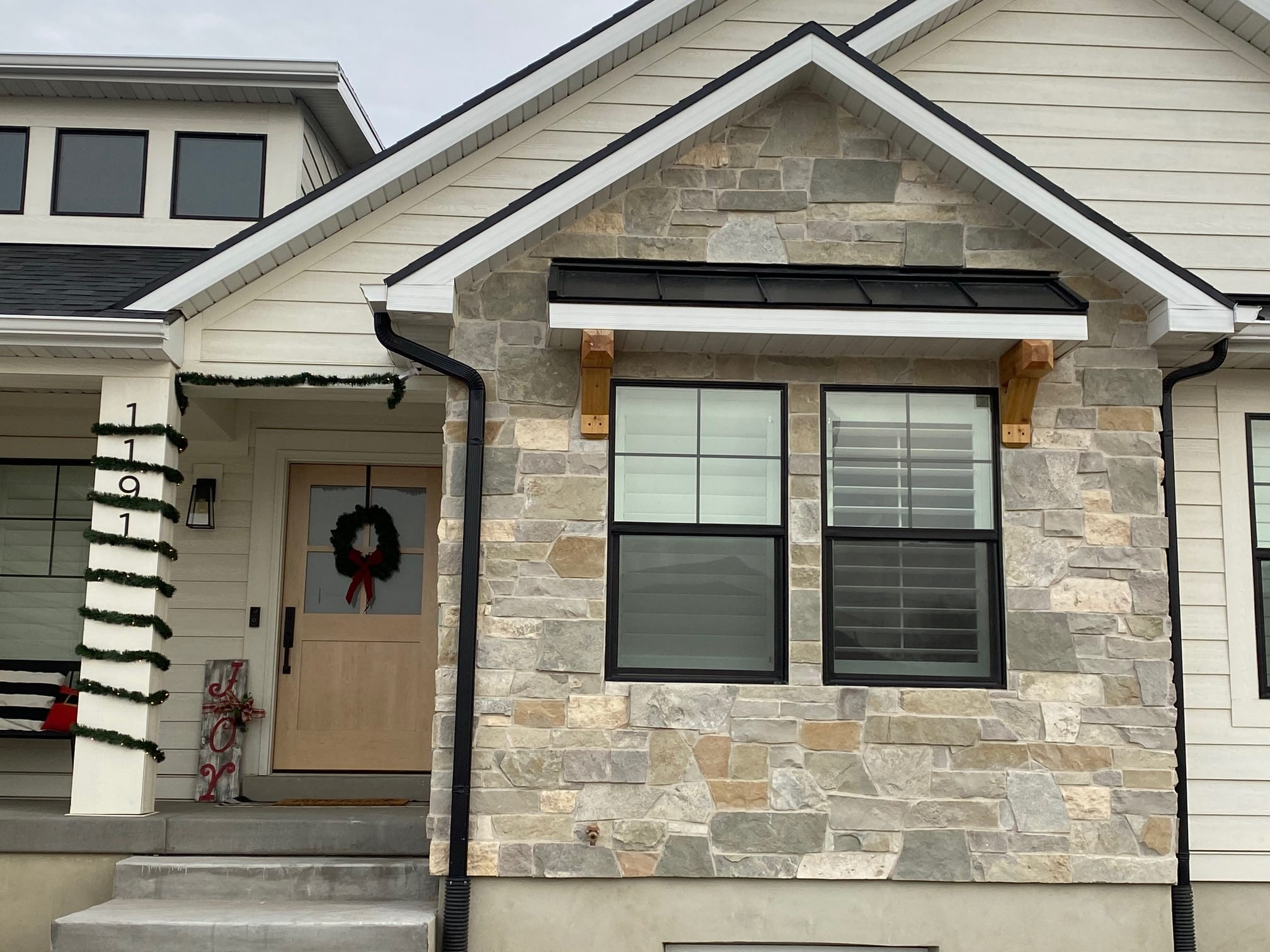 Roanoke Custom Dark Natural Thin Stone Veneer Front Entrance
