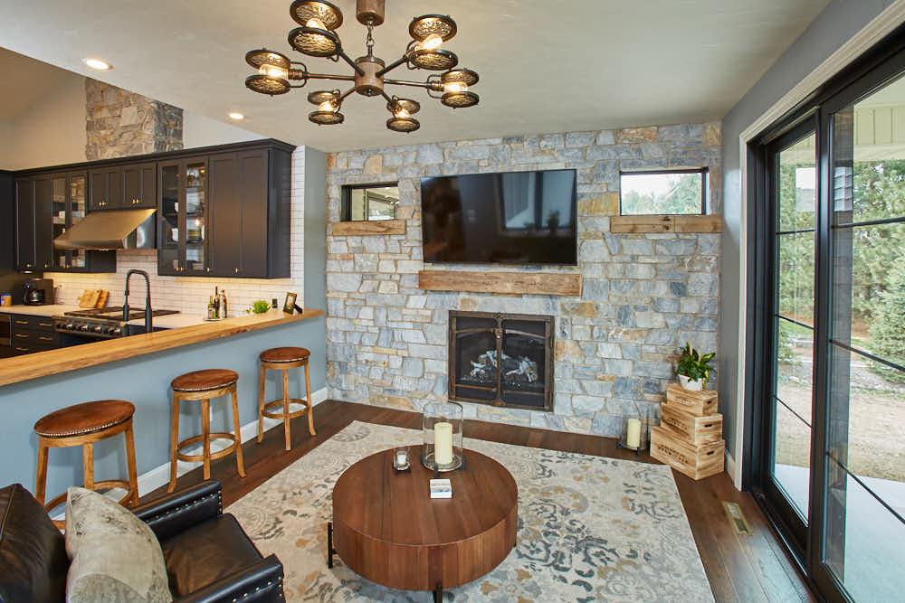Chamberlain Real Thin Stone Veneer Living Room