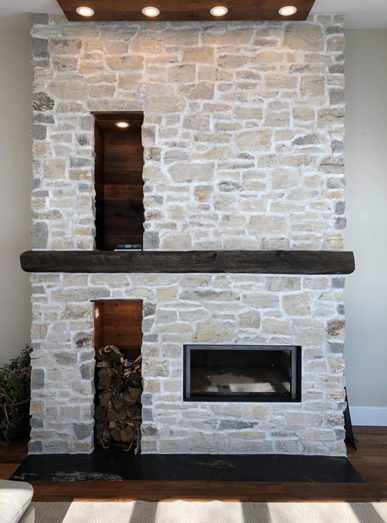 Door County Fieldstone Fireplace
