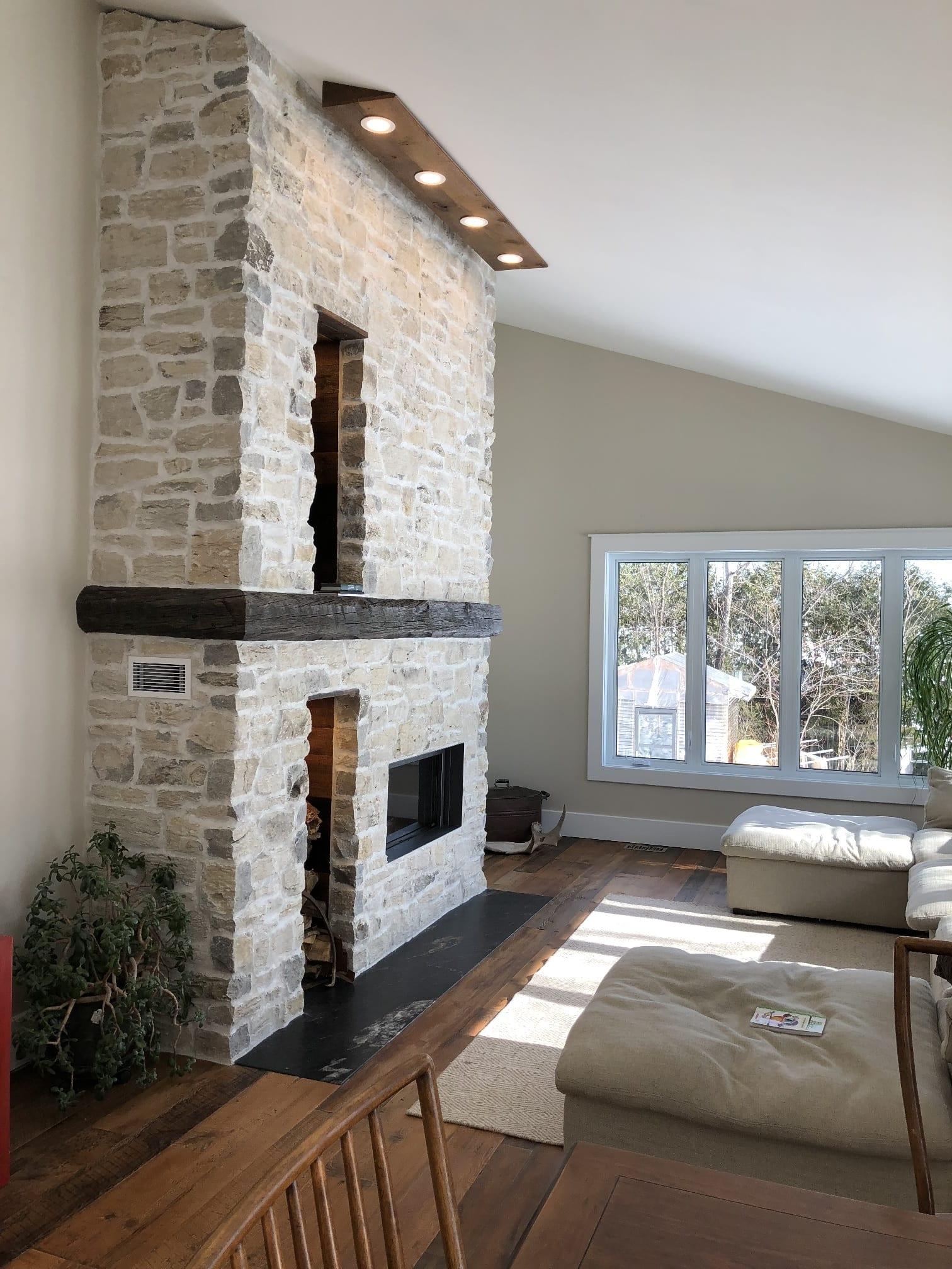 Door County Fieldstone Interior Fireplace