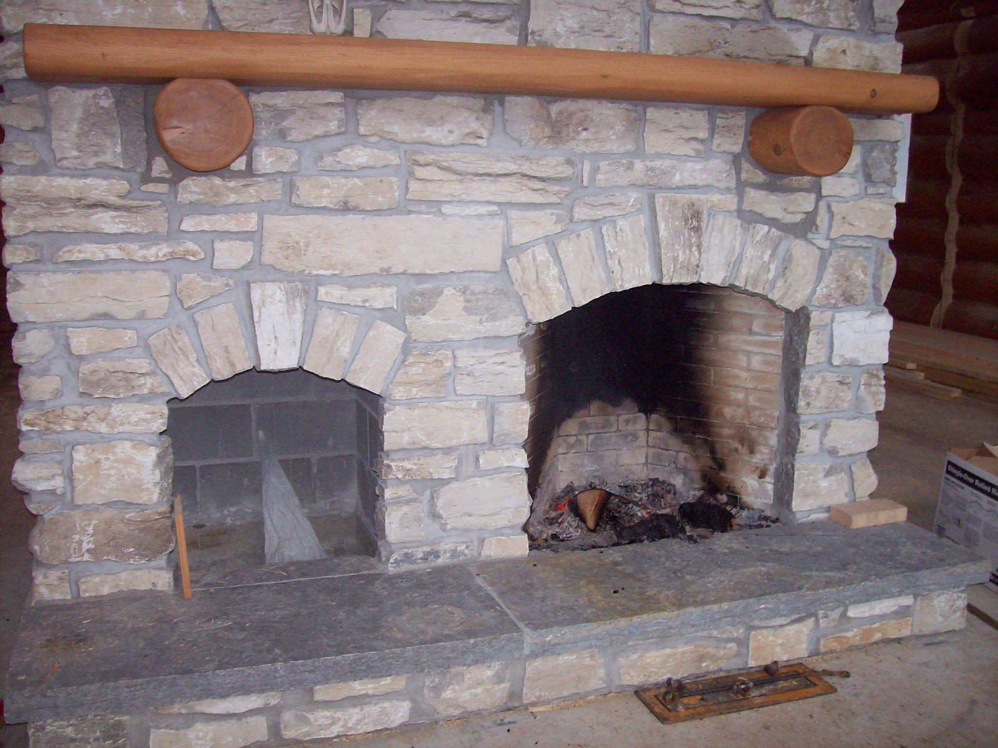 Door County Fieldstone Rustic Fireplace
