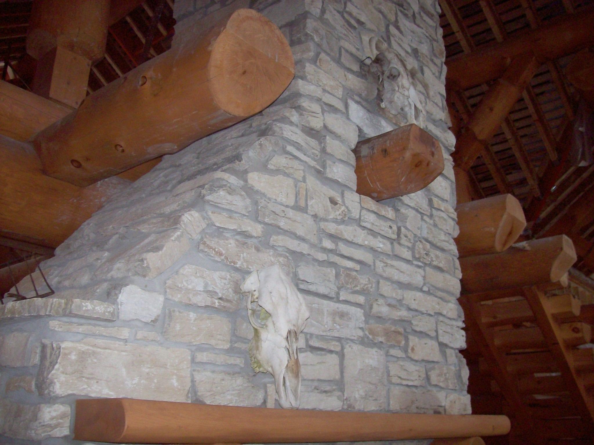 Door County Fieldstone Rustic Interior Fireplace