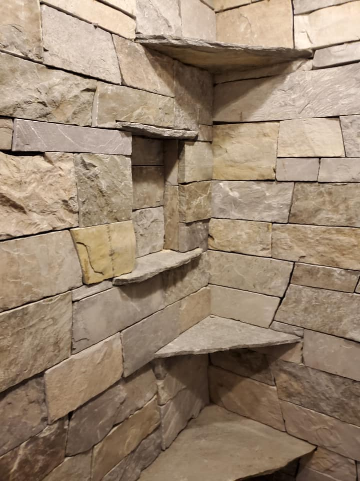 Glacier Ridge Natural Thin Stone Veneer Shower