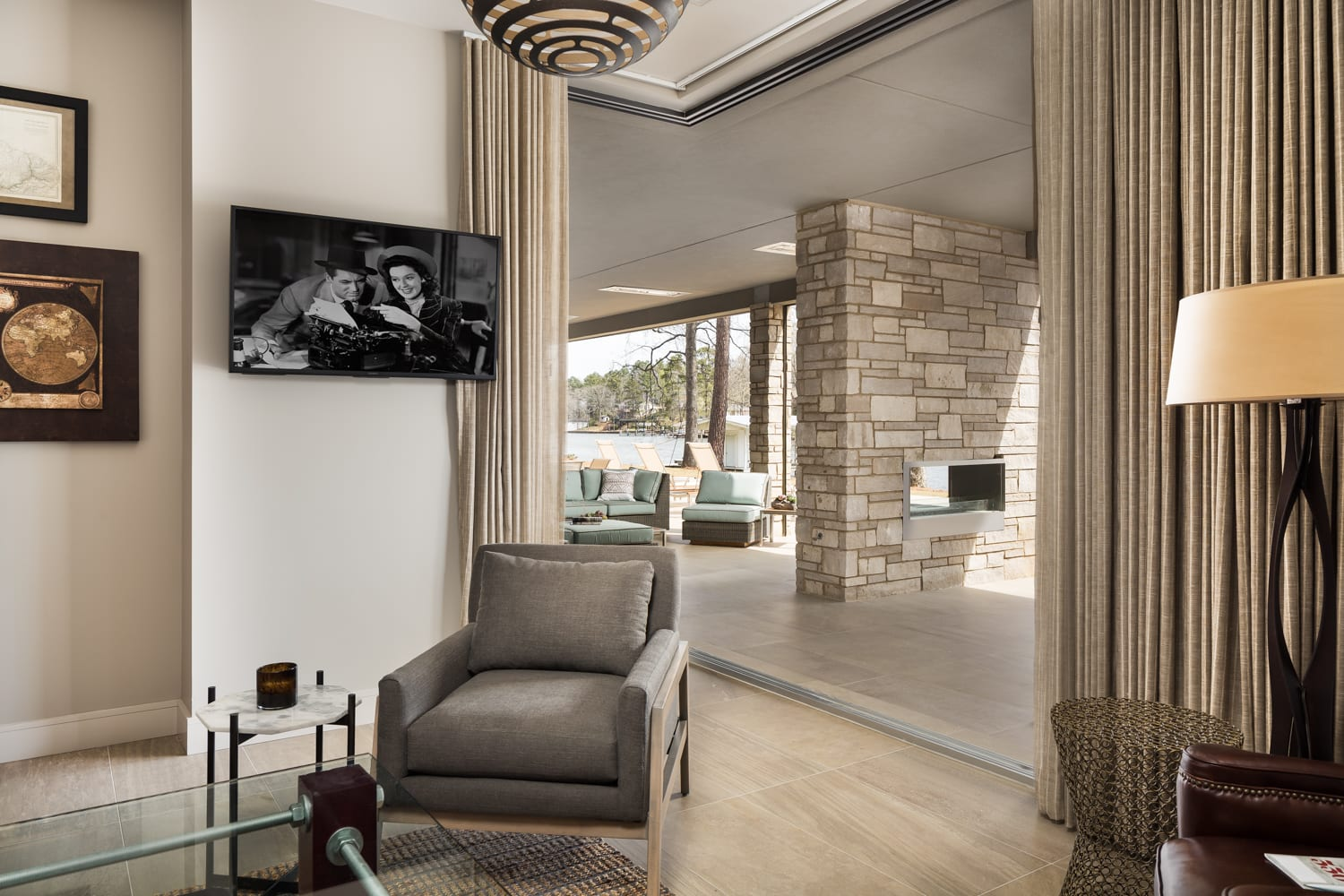 Joliet Natural Stone Veneer Double Sided Fireplace