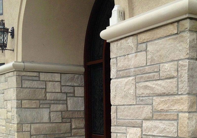 Joliet Natural Thin Stone Veneer Front Entrance Close-Up