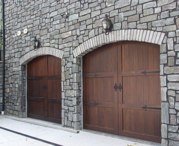Monroe Natural Thin Stone Veneer Garage