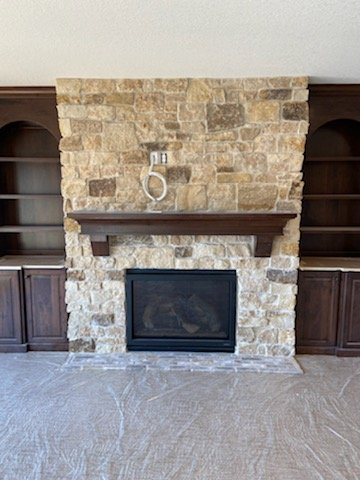 Mojave Real Thin Stone Veneer Interior Fireplace