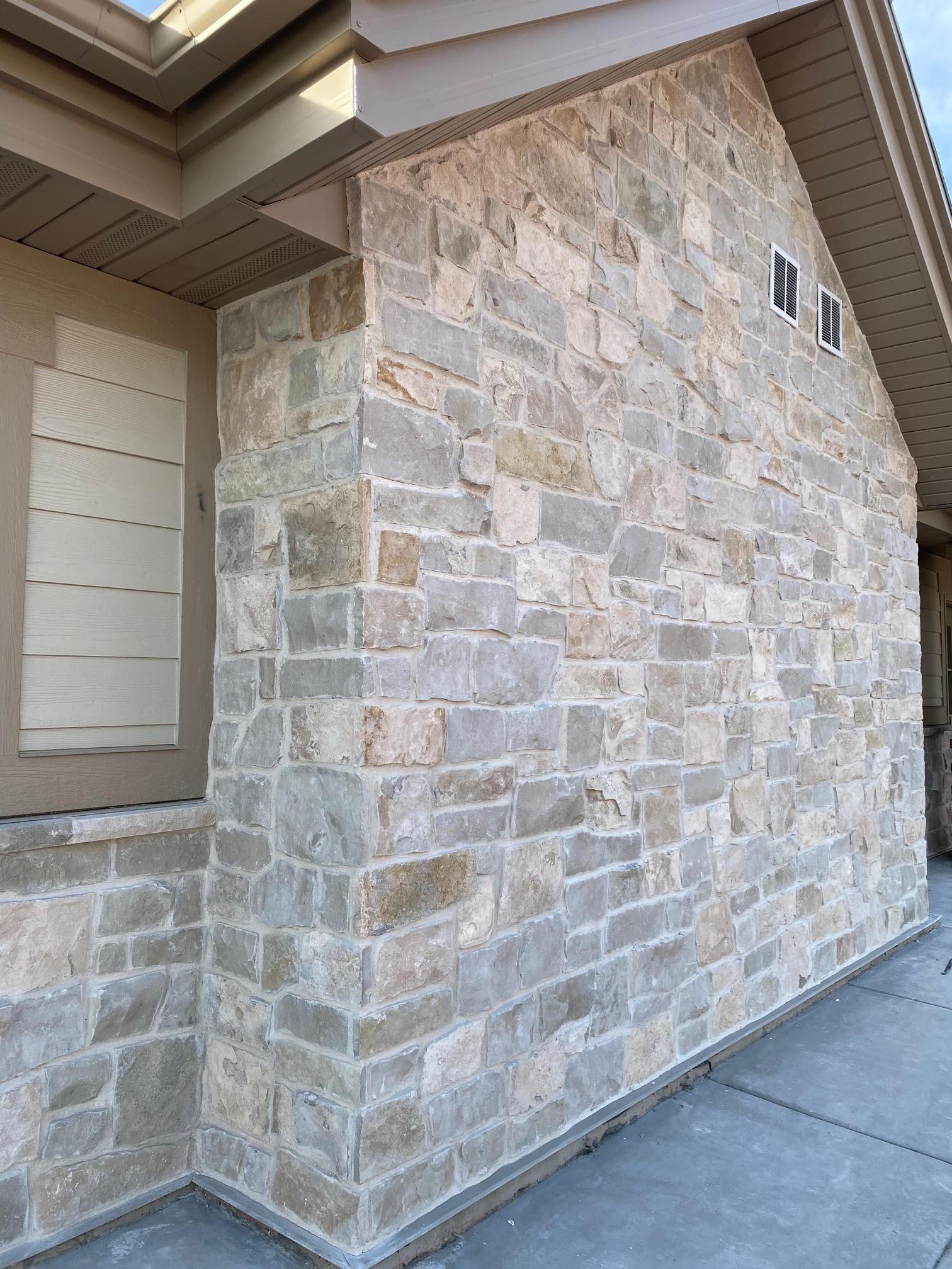 Roanoke Real Thin Stone Veneer Exterior Accent Wall