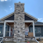 Graphite Real Thin Stone Veneer Outdoor Fireplace and Covered Patio