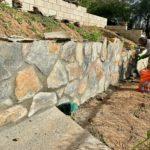 Bonavista Grey and Tan Webwall Thin Stone Veneer on a Retaining Wall