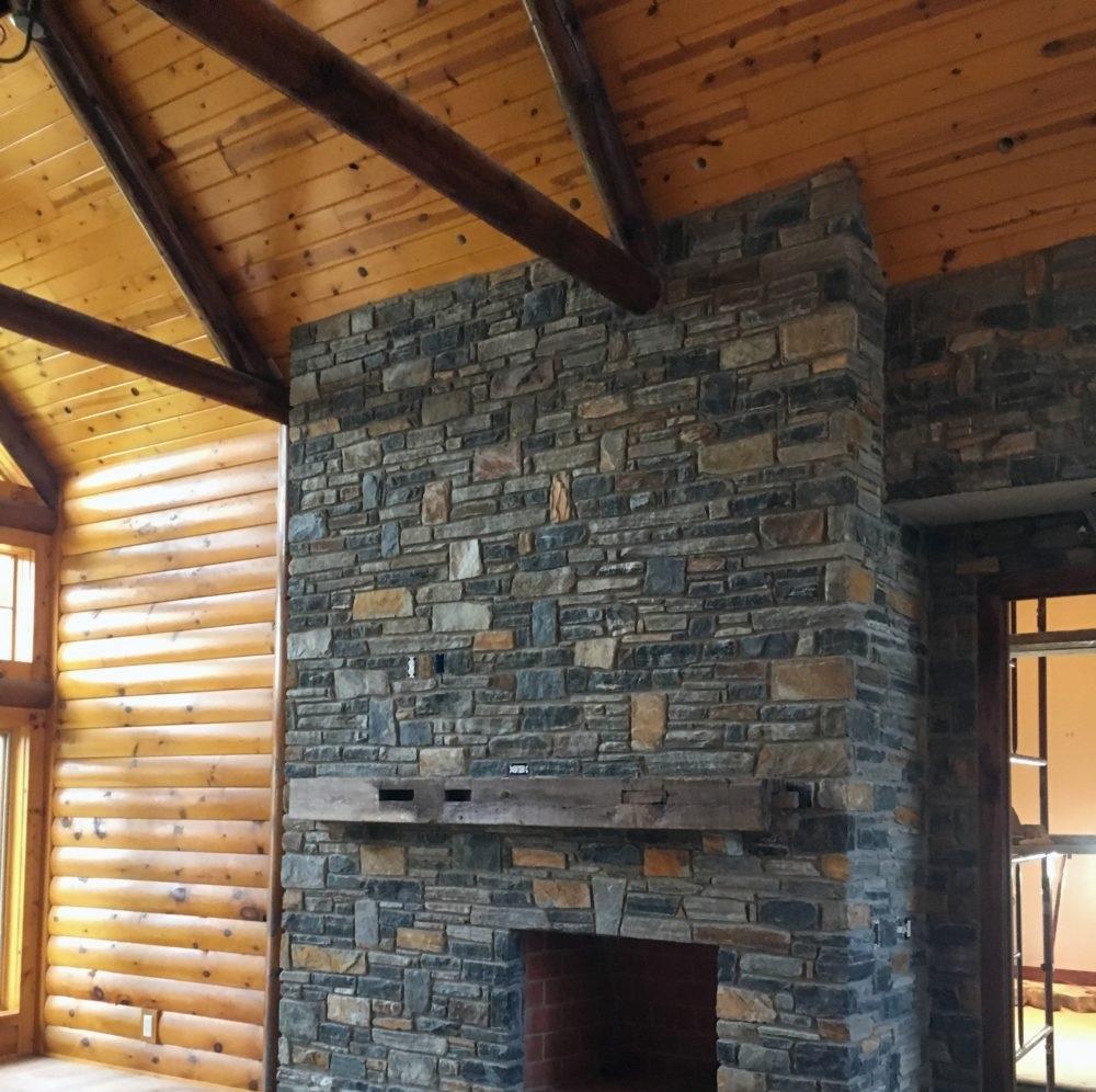 Verona, Quincy, Ebony Ridge and Belingham Blend Natural Thin Stone Veneer Fireplace